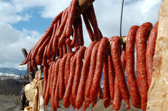 Hanging smoke-dried sausage Royalty Free Stock Image