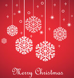 Hanging snowflakes on red, Merry Christmas card. Vector illustration Stock Photography