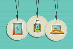 Hanging social media icons set Stock Image