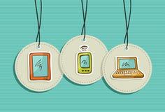 Hanging social media icons set stock image