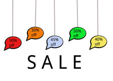 Hanging Speech Bubbles with Discounts - Sale. The image shows five speech bubbles with discounts in the range of 30% to 50%. The speech bubbles have a black Stock Photos