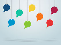 Hanging Speech Bubbles Vector Design. In different colours for text and conversation Stock Image