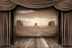 Hanging stage theater curtains Royalty Free Stock Images