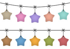 Hanging star labels. Made of leather. Price tags for commerce. Vector set royalty free illustration