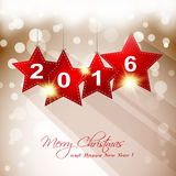 2016 hanging star with long shadow greeting card. Sample Stock Images