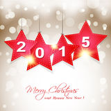 Hanging  2015 star on magical winter background gr Stock Photos