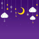 Hanging star moon cloud  snow on night sky background Stock Photo