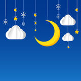 Hanging star moon cloud  snow on night sky background 002. Star moon cloud  snow hanging on threads - night sky background Stock Photo