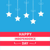 Hanging stars with dash line bow Srip background Happy independence day United states of America. 4th of July. Flat design Stock Image