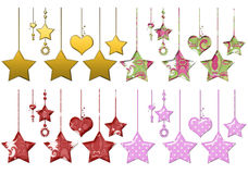 Hanging Stars & Hearts. Four sets of uniquely designed hanging hearts and stars. These are created with the highest print quality in mind. These should work stock illustration