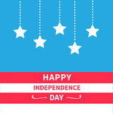 Hanging stars Srip background Happy independence Royalty Free Stock Images