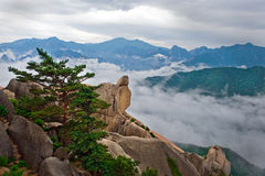 Hanging stone at the Ulsanbawi Rock Stock Photography
