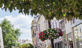 Hanging streets flower pots Plovdiv Royalty Free Stock Photo