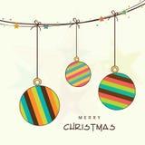 Hanging stylish X-mas ball for Merry Christmas celebration. Merry Christmas celebration concept with stylish hanging ball on beige background Stock Images