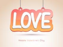 Hanging stylish text for Valentines Day celebration. Stock Image