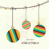 Hanging stylish X-mas ball for Merry Christmas celebration. Stock Images
