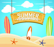Hanging Summer Surfing Sign with Colorful Surfboards and Starfish vector illustration