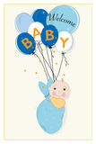 Hanging swaddle baby boy arrival card with balloons. Vector Royalty Free Stock Photography
