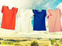 Hanging T-Shirts Stock Photo