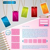 Hanging tags website template design Stock Images
