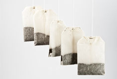 Hanging teabags Stock Photo