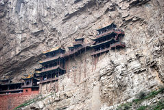Hanging temple. Ancient hanging temples on a rock cliff in China Royalty Free Stock Photography