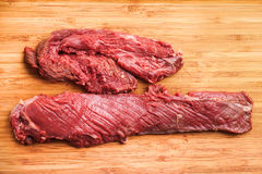 Hanging tender, Hanger steak, onglet. After the meat has been trimmed by the butcher Royalty Free Stock Images