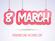 Hanging text for International Womens Day celebration. Royalty Free Stock Images