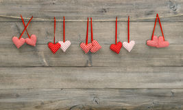 Hanging textile hearts. Valentines day Stock Photography