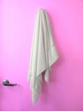 Hanging Towel Maqenta door Stock Photo