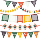 Hanging traditional mexican banners, flags, electric lights garlands. Hanging festive mexican banners, flags, electric lights garlands. Vector illustration  on Royalty Free Stock Photography