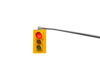 Hanging traffic light on red isolated. Stock Photos