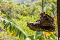 Hanging trail boot stock photography