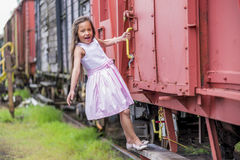 Hanging on a train Royalty Free Stock Images