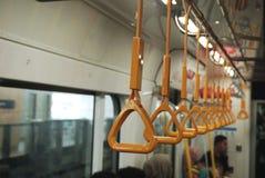 Hanging On. Train, travel, station, people, city, transport, subway, metro, railway, transportation, happy, underground, urban, public, young, modern, journey vector illustration