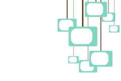 Hanging TVs. Turquoise shapes remniscient of televisions hanging from brown lines in a retro pattern stock illustration