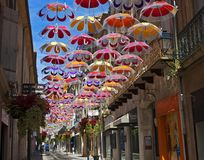 Hanging umbrellas, Béziers, France Stock Images