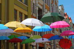 Hanging umbrellas Royalty Free Stock Photo
