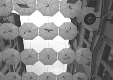 Hanging umbrellas grayscale. Umbrellas hanging between buildings in Sarajevo. Bottom view. Grayscale royalty free stock images