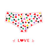 Hanging underwear panties with hearts love valentine day card vector Royalty Free Stock Image