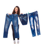 Hanging up denim clothes Royalty Free Stock Images