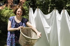 Hanging up the washing in Stock Image