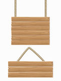 Hanging vector wooden blank sign boards isolated over white Stock Images