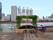Hanging vegetable garden in center city public park Stock Image