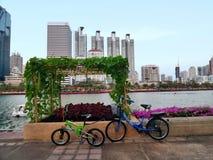 Hanging vegetable garden in center city public park Royalty Free Stock Photos