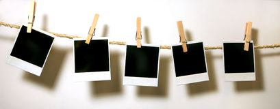 Free Hanging Vintage Polaroid Paper Royalty Free Stock Photography - 3157457