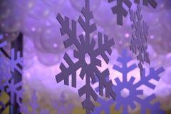 Hanging Violet Paper Snowflake Royalty Free Stock Images
