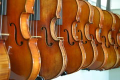 Hanging Violins. Violins hang in a local music shop Royalty Free Stock Image