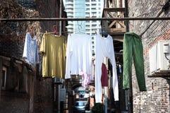 Hanging washing in an old Shanghai neighbourhood Royalty Free Stock Photo