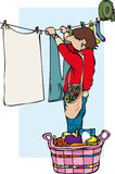 Hanging washing. Young man hanging out washing listening to music vector illustration